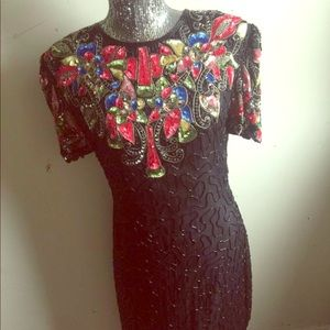 Dresses & Skirts - Vintage Sequin 80s Formal Cocktail Womens Dress